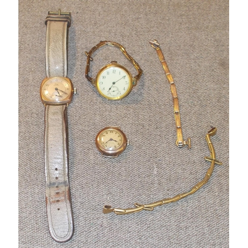 183 - Collectables; Watches; three watches with gold cases, one of these engraved to the Dux of Edinburgh ...