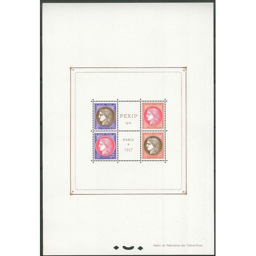 295 - France; 1937 PEXIP miniature sheet very fine unmounted mint, as fresh as you're likely to find. SG M...