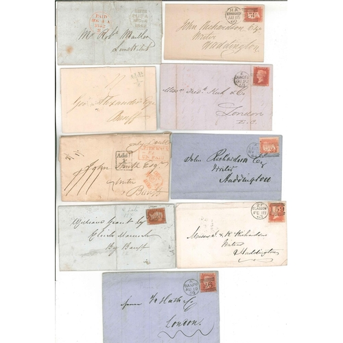 562 - Scottish Covers and Postal History; 1816-64 seln. of nine covers....