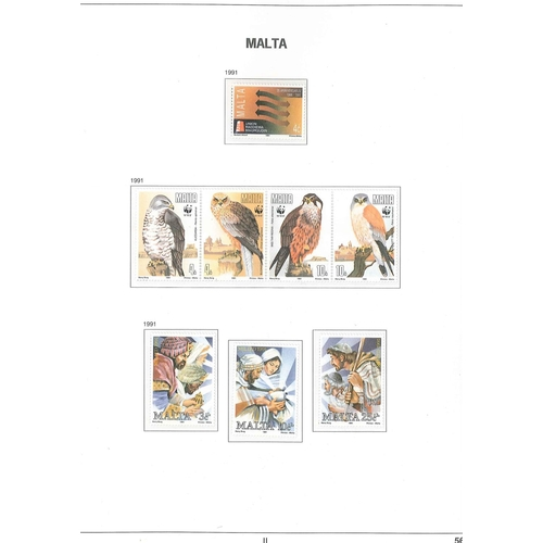 387 - Malta; 1963-2002 u.m. collection in two Davo hingeless albums (different binder styles), apparently ...