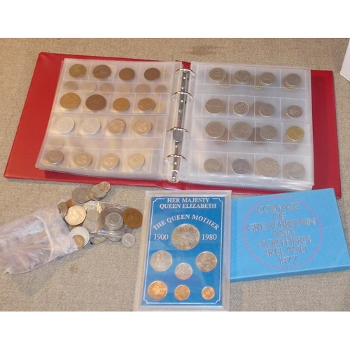 151 - Coins; Coin album of various world coins, much is fairly modern (later 20th Century) (c.300), and a ...