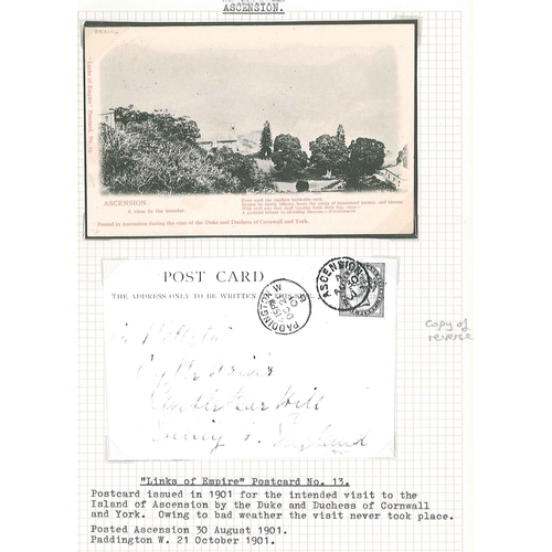"""190 - Ascension; six postcards; {a} 1901 postcard (""""A view in the interior"""") issued in 1901 for the intend..."""