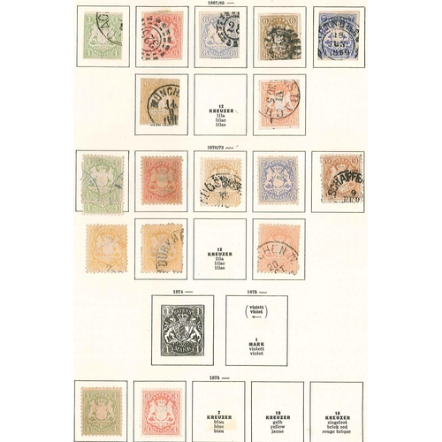 306 - German States; Bavaria; 1849-1920 collection on old pages, majority used, inc. 1850-58 18k poor u., ...