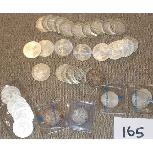 165 - Coins; Germany; selection of West German/Unified  silver coins – comprises 10m 1990 Barbarossa (7), ...