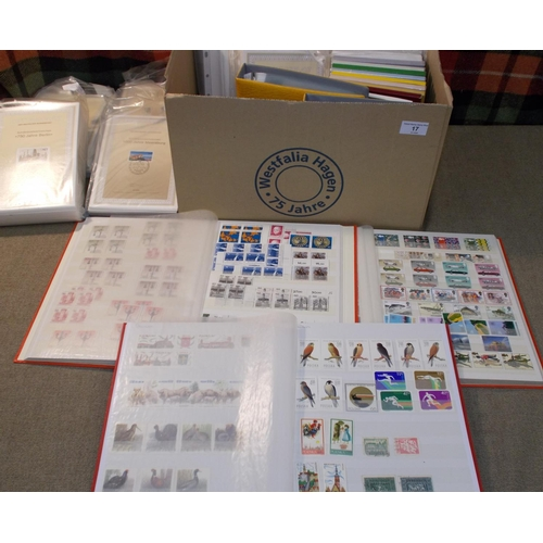17 - Collections and Mixed Lots; Box with modern UK commem sets in stockbook (face value c.£90), plus oth...