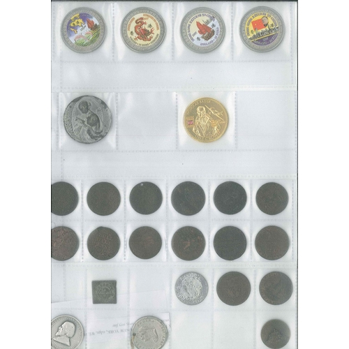 181 - Collectables; Tokens; page with seln. of mixed tokens, mainly UK late-1700s/early-1800s inc. square ...