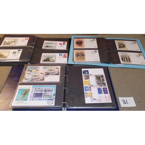 81 - Collections; Thematic; World War Two; two cover albums with a seln. of covers, stamps, etc. commemor...