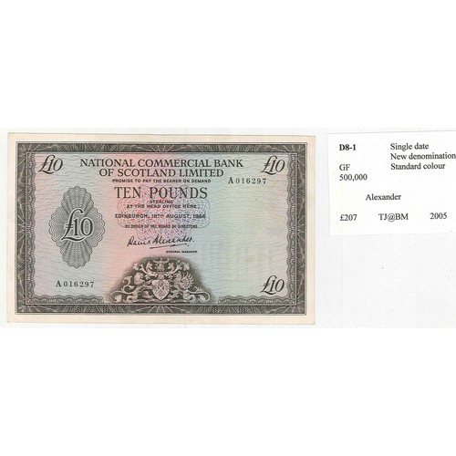 125 - Banknotes; Scotland; National Commercial Bank of Scotland; 1966 (18 Aug.) £10 note in Fine grade (po...
