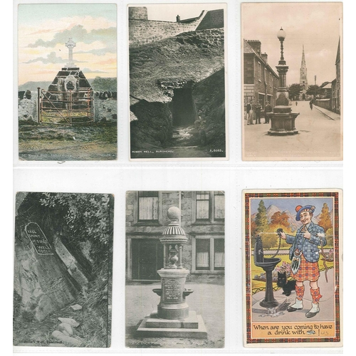 176 - Postcards; Fountains and Wells; small colln. of c.50 older, c.30 modern....