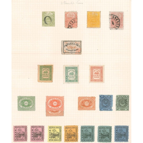 45 - Cinderellas; page from old album with 21 stamps from steamship companies or similar, mainly good/fin...