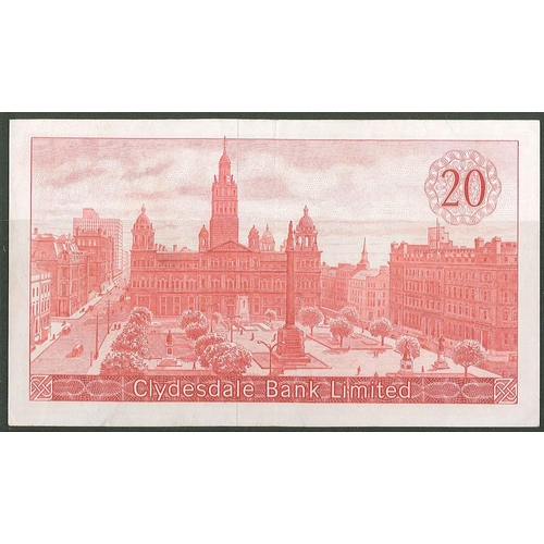 58 - Banknotes; Scotland; Clydesdale Bank; 1964 (19 Nov.) £20 note, generally about EF but small bit of g...