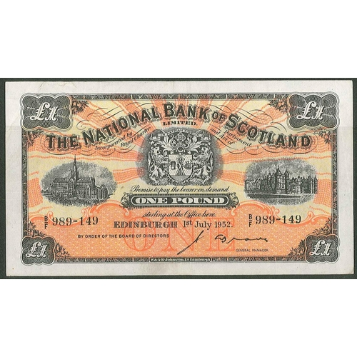 59 - Banknotes; Scotland; National Bank of Scotland; 1952 (1 July) £1 note, VF/EF (generally EF but one s...