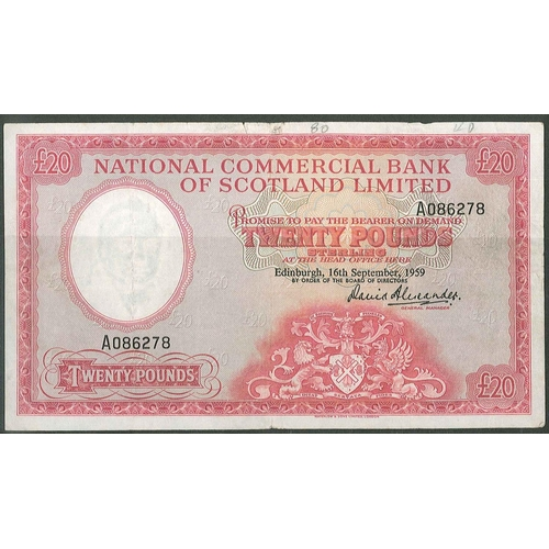 61 - Banknotes; Scotland; National Commercial Bank of Scotland; 1959 (16 Sep.) £20 note, F. PMS NC4 (cat....