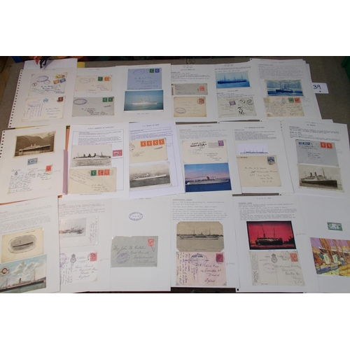 39 - Covers; Shipping; file box of Royal Mail Lines, P & O, Canadian Pacific, etc. written-up on pages co...