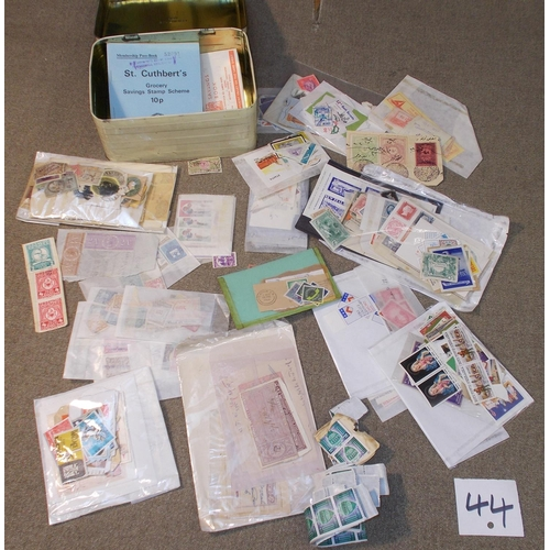 44 - Mixed Lots; Cinderellas; tin filled with various fiscals, cut-outs, labels, etc. in packets, inc. so...
