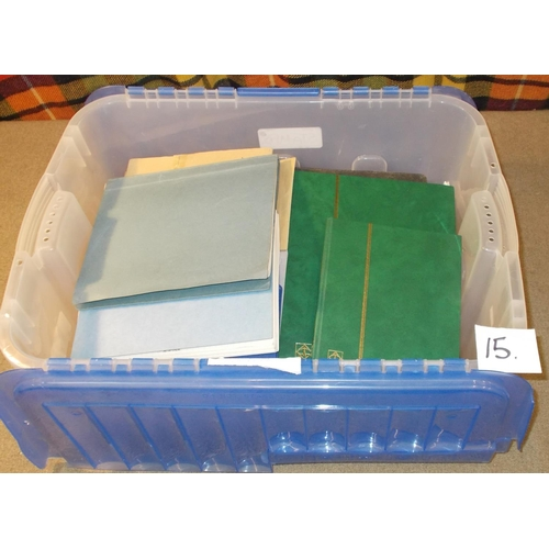 15 - Collections and Mixed Lots; plastic storage tub with general mix of mainly cheap in various albums a...