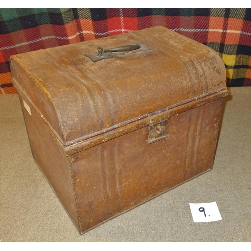 9 - Collections and Mixed Lots; old metal trunk with mainly older stamps in envelopes and on some old pa...