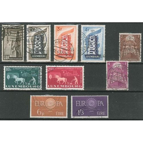 10 - Europa; Ireland 1960 set (2), Italy 1949 ERP 20L, Luxembourg 1951 United Europe 80c, 2f501956 set (3...