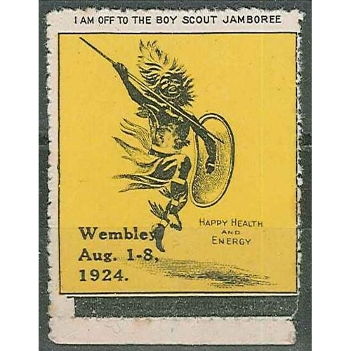 40 - Cinderellas; 1924 label for Scout Jamboree, Wembley (overprinted on label for Olympia), u.m., tone s...