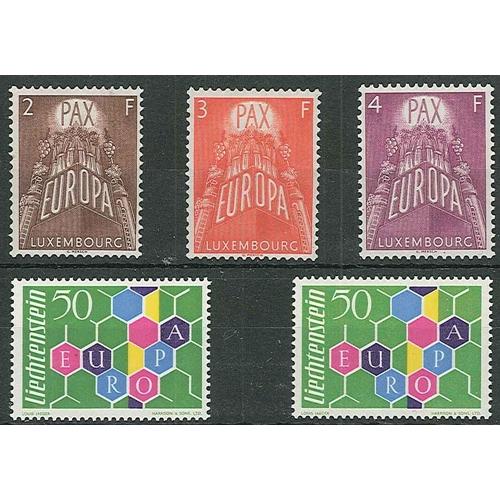 8 - Europa; Liechtenstein 1960 50r (1 u.m., 1 u.m. with gum-shine), and Luxembourg 1952 set (3) u.m., ca...