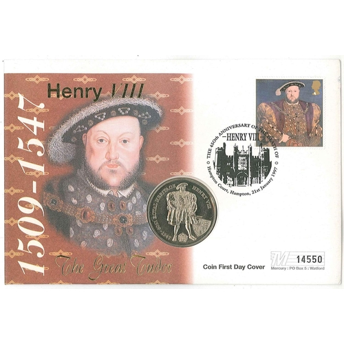 37 - Philatelic Numismatic Covers; UK 1997 Henry VIII single stamp (small scratch) FDC with encapsulated ...
