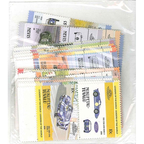 13 - Collections and Mixed Lots; Thematics; Motor Cars; packet of 47 different pairs (= 94 different stam...