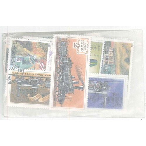 16 - Collections and Mixed Lots; Thematics; Railways; packet of 100 different, mainly c.t.o.