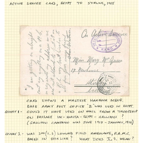 23 - Covers; 1915 Maltese postcard posted to Scotland, with B.A.P.O./Z c.d.s., and violet cachet of 3rd (...