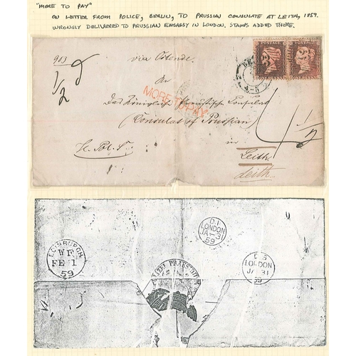 24 - Covers; 1859 cover from Police in Berlin addressed to Prussian Consulate in Leith. Incorrectly sent ...