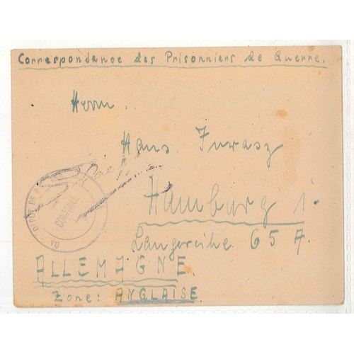 34 - Prisoner of War Mail; post-WW2 (probably c.1945) P.o.W. cover from Hyères (France) to Germany.