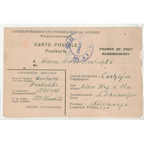 36 - Covers; Prisoner of War Mail; 1947 printed lettercard from France to Germany. Unused reply card stil...