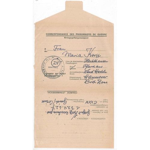 33 - Covers; Prisoner of War Mail; 1946 printed lettersheet from Guéret Creause (France) to Hannover (Ger...