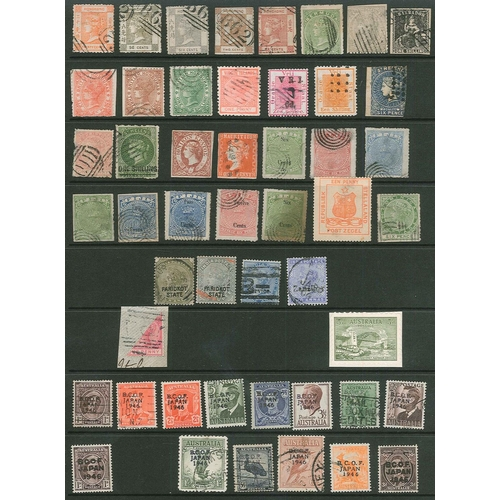 52 - Forgeries; mixed Commonwealth selection with 29 various early lithographed, 4 opts., 14 BCOF JAPAN o...
