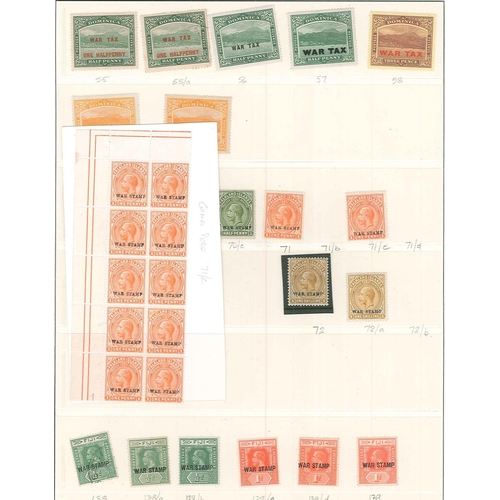 38 - Commonwealth; several leaves with mainly m.m. (some u.m. or used) War Tax stamps from WW1. (c.185, i...
