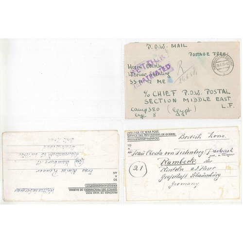 55 - Covers; 1946-48 selection of Prisoner of War Post items from German prisoners to Germany, on printed...