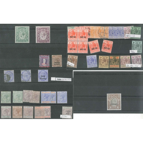 35 - Commonwalth; a selection on stockcards inc. better or medium values, with Dominica 1903-07 5/- SPECI...