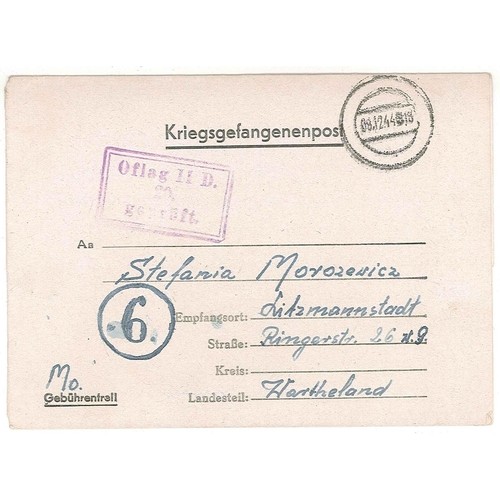 530 - Covers; Prisoner of War Mail; 1944 lettersheet from Polish prisoner at Oflag IID to
