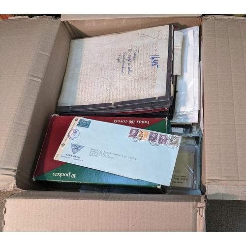 15 - Collections and Mixed Lots; medium box filled with world stamps on stockleaves and stockcards, cover...