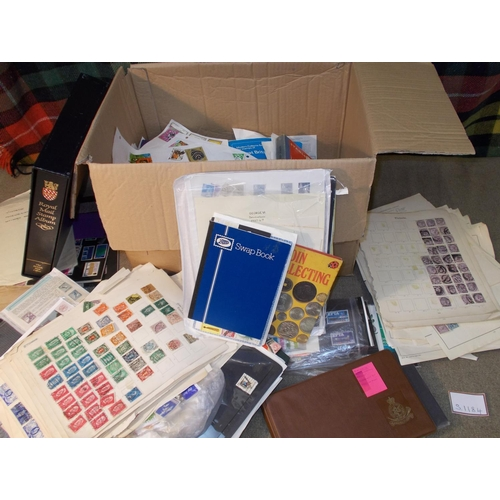 22 - Mixed Lots; carton with muddled mix of world on album pages, bundles of UK FDCs, small stockbooks of...