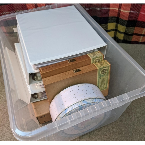 19 - Mixed Lots; plastic tub with four large binders of Czechoslovakia, Ireland, Germany, Japan, and othe...