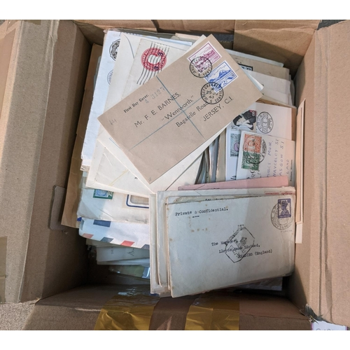54 - Covers; box of mixed world covers of mixed areas and periods - mainly commercial plus some philateli...