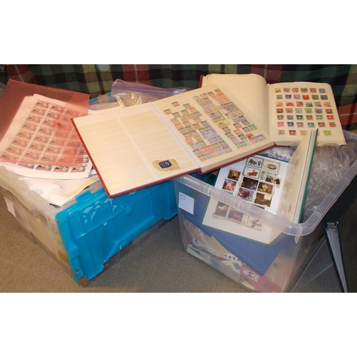8 - Mixed Lots; two plastic tubs of very mixed material, with albums/stockbooks, sheets of c.t.o. Laos, ...