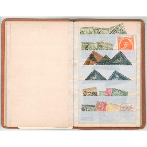 502 - Collections; tiny stockbook with five poor Cape triangulars, and mixed others. (c.70)20.