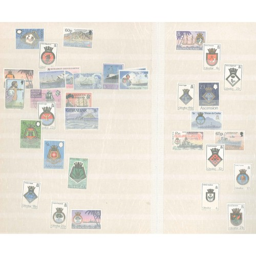 49 - Thematic; Ships; small colln. on stockleaves of mainly u.m. Commonwealth with many Gibraltar. (c.150...