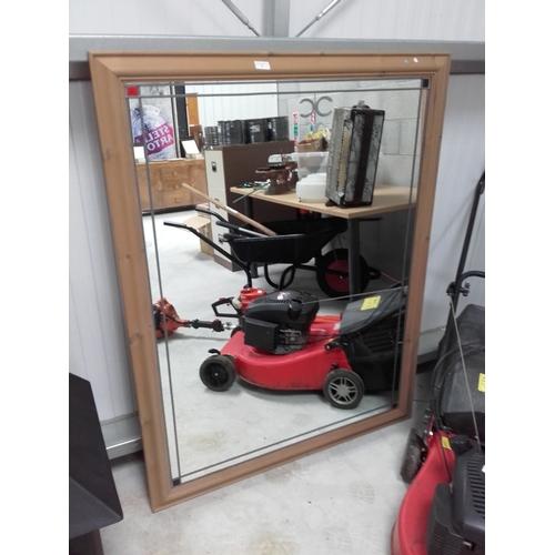 1 - Large wooden framed mirror 104cmx134cm...