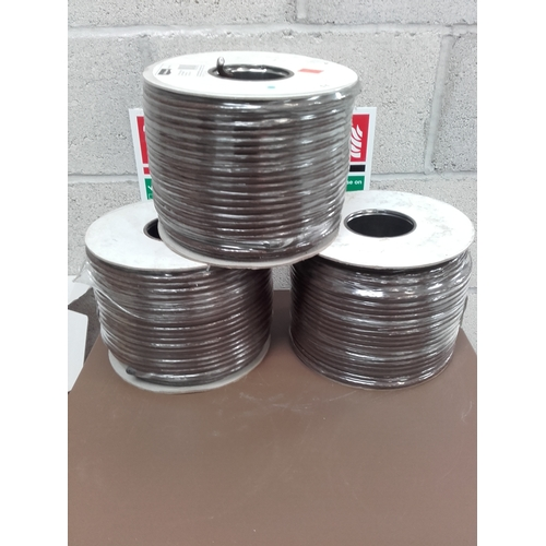 11 - 3 reels of 100m coax cables brown...