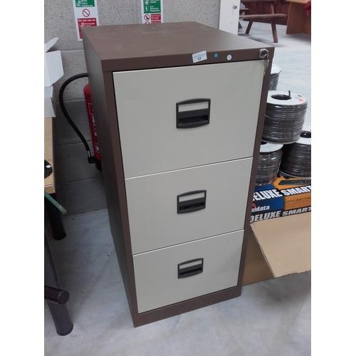 12 - Three draw filing cabinet with keys...