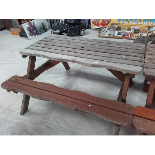 16 - Large wooden picnic table...
