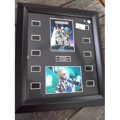 22 - Bettlejuice movie stills framed with certificate of authenticity...
