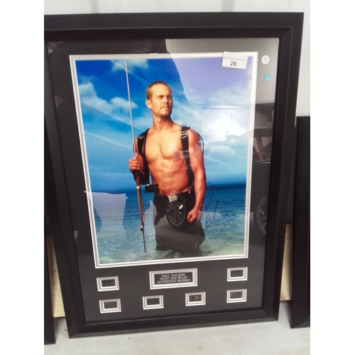 26 - Into the blue movie, Paul Walker photo framed with certificate of authenticity...
